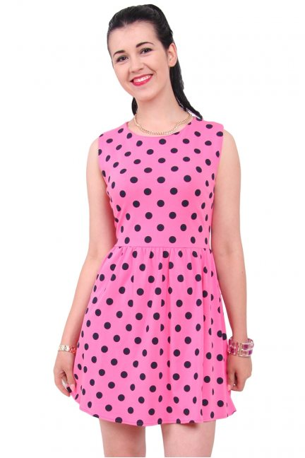 Sukienka bawełniana groszki CM300 różowa