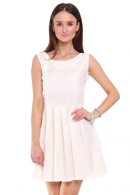 Sukienka rozkloszowana CM462 ecru