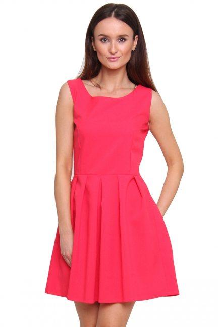 Sukienka rozkloszowana CM462 koralowa