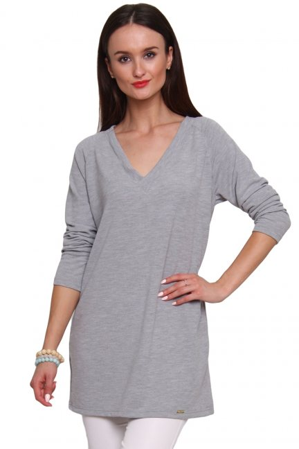Sweterek z kokardką tiul CM467 szary