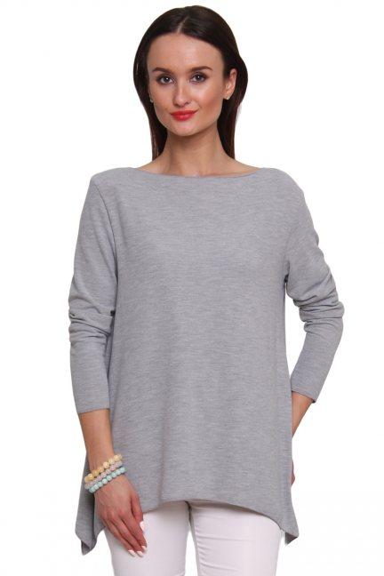 Sweter asymetryczny rogi CM489 szary
