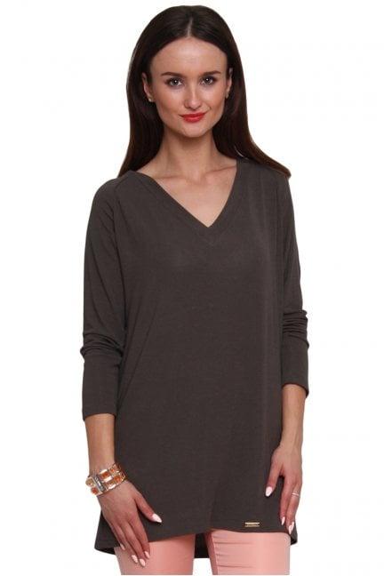Sweterek z kokardką tiul CM467 khaki