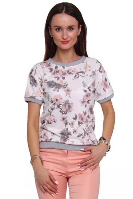 Bluzka bawełniana w kwiaty CM289 biało różowa