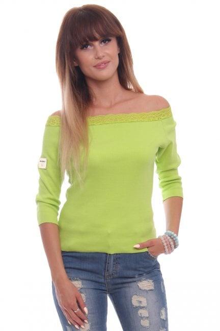 Bluzka bawełna z koronką CM430 zielona