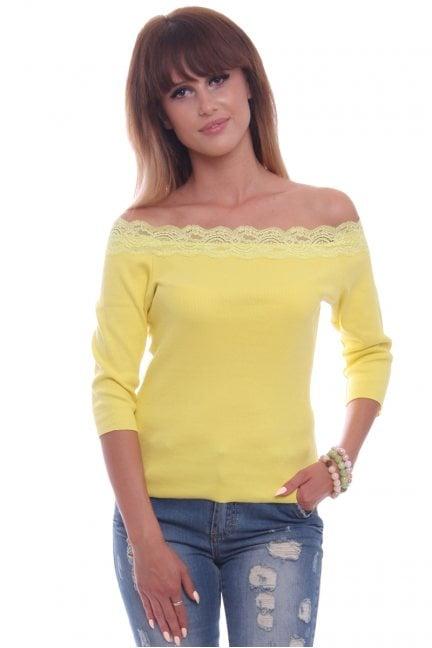Bluzka bawełna z koronką CM430 żółta