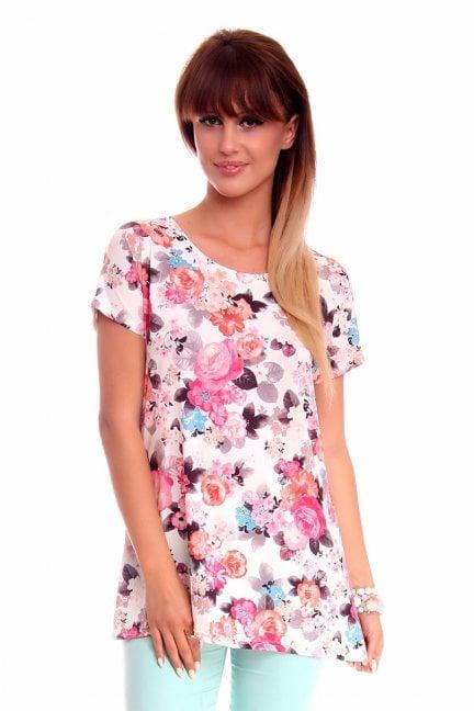 Bluzka tunika w kwiaty CM153 różowo biała