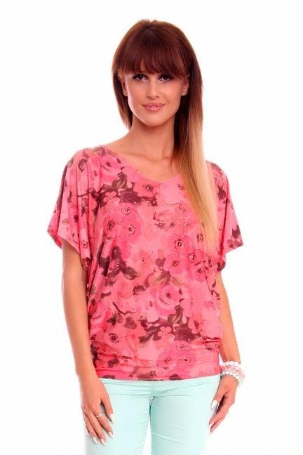 Bluzka nietoperz w kwiaty CM118 różowa