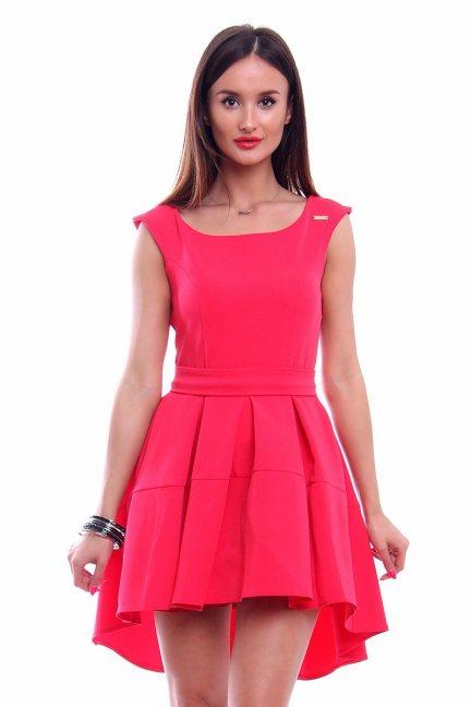 Sukienka z dłuższym tyłem CM461 koralowa