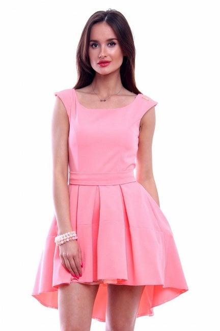 Sukienka z dłuższym tyłem CM461 różowa