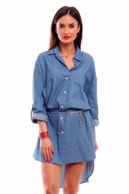 Długa koszula jeansowa CMK225 niebieska
