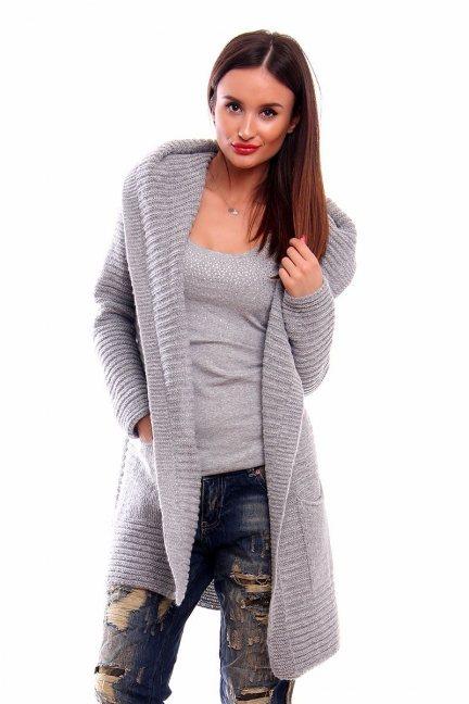 Sweter ciepły z kapturem CMK2026 szary