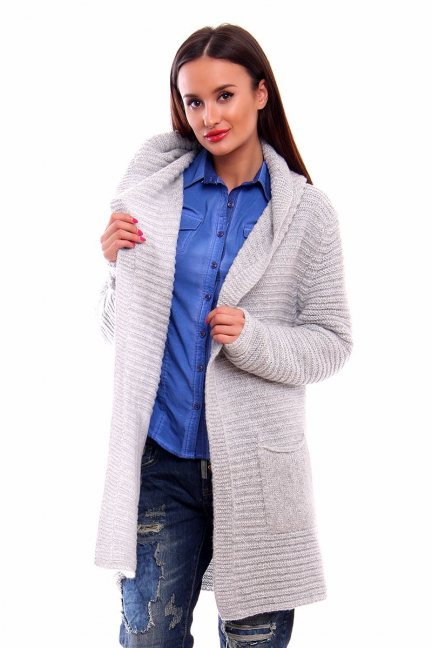 Sweter ciepły z kapturem CMK2026 jasno szary