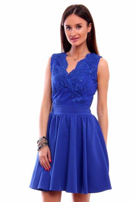 Sukienka rozkloszowana koronka CMK226 chabrowa