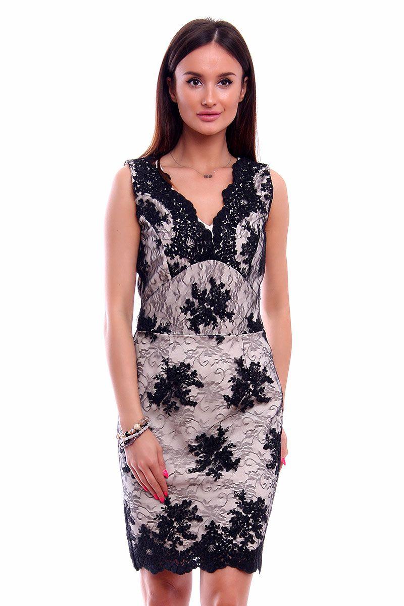 Nowość Sukienka ołówkowa koronka CMK227 beżowa sklep online CosmosModa BB58