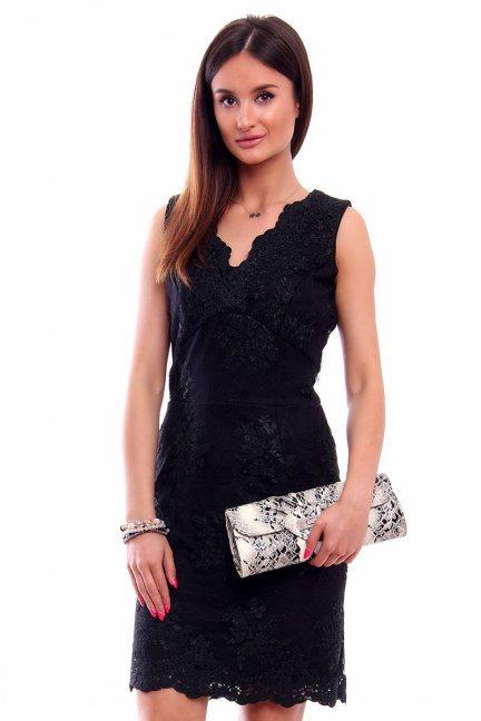 Sukienka ołówkowa z koronki CMK227 czarna