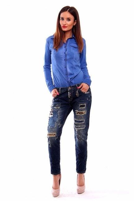 Spodnie jeansowe damskie CMK231 granatowe