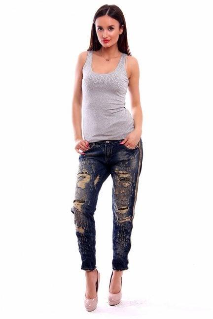 Spodnie jeans dziury CMK232 granatowe