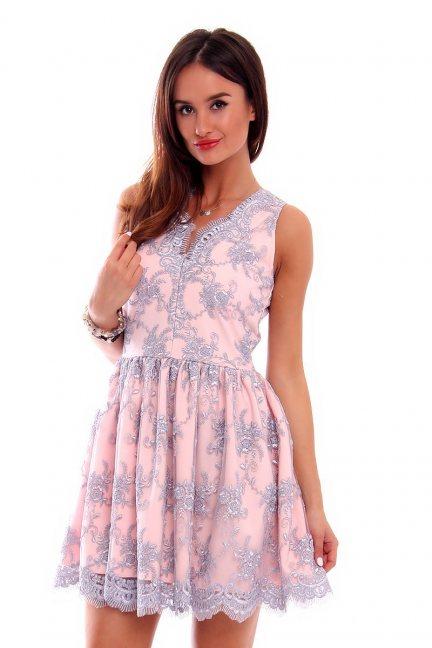 Sukienka elegancka z koronki CM502 szara