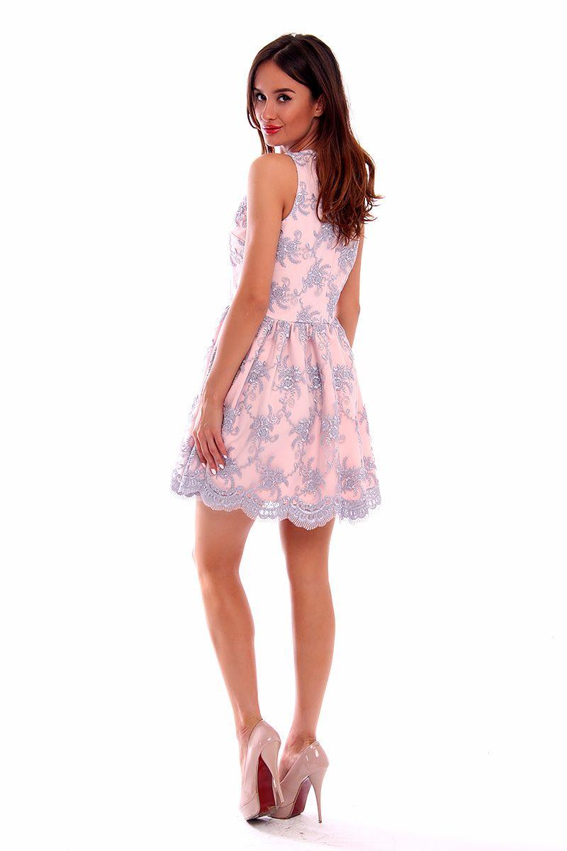 be0afb9158 Sukienka koronka dekolt CM502 szara sukienki wizytowe sklep CosmosModa