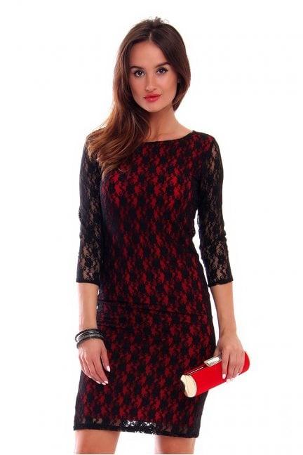 Sukienka ołówkowa z koronki CM513 czarna