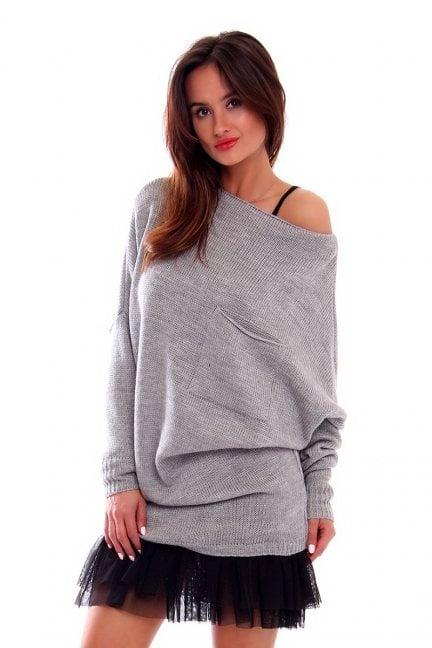 Sweter oversize z kieszenią CMK237 szary