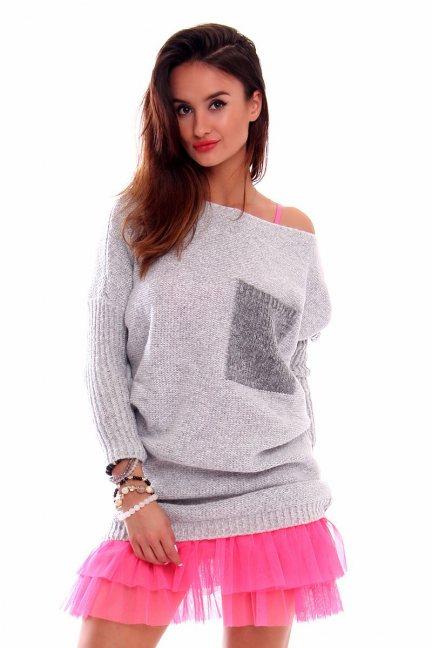 Sweter tunika z kieszenią CMK2021 jasno szary