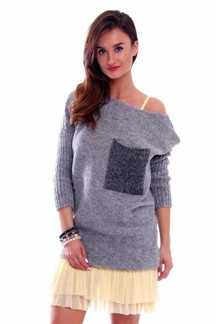 Sweter tunika z kieszenią CMK2021 szary