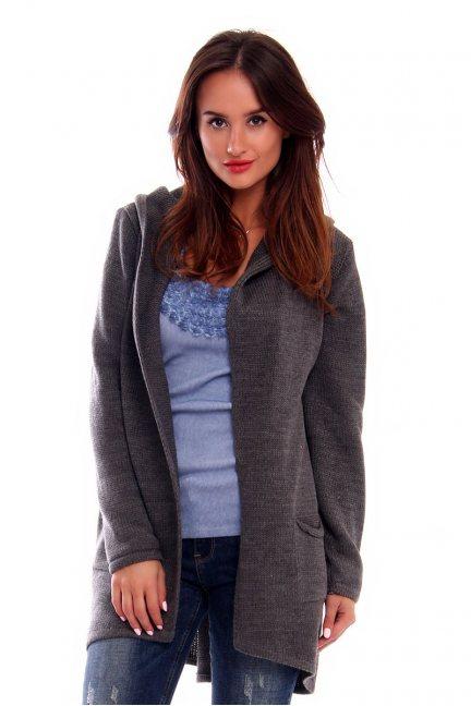 Sweter długi z kapturem CMK2028 grafitowy