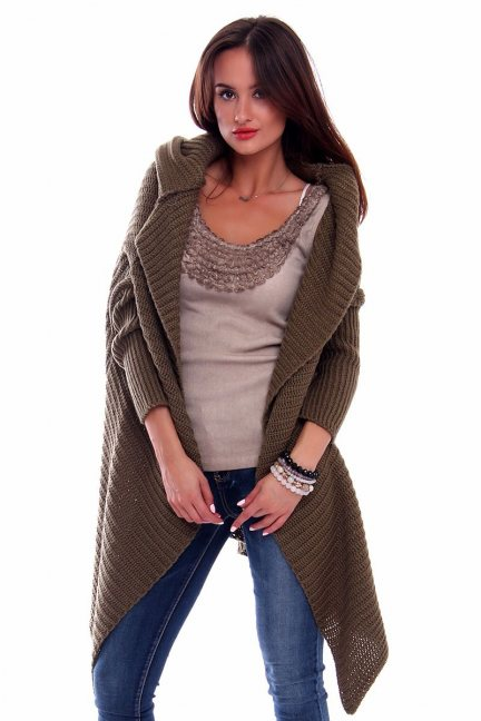 Sweter kardigan z kapturem CMK238 czarny