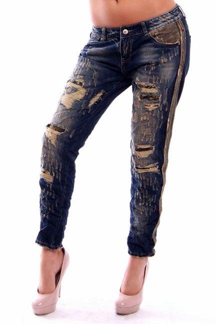 Spodnie jeans z przetarciami CMK232 granatowe