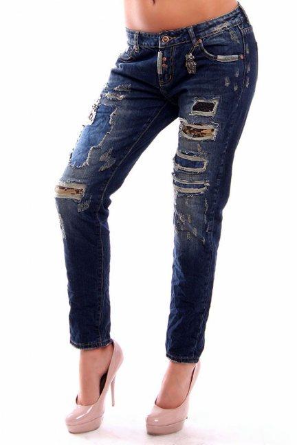 Spodnie jeans z dziurami CMK230 granatowe