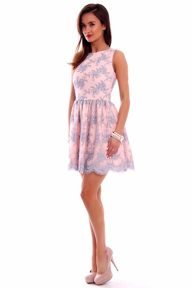 c0c7ea3024 Sukienka koronka mini CM503 szaro-różowa modne sukienki CosmosModa