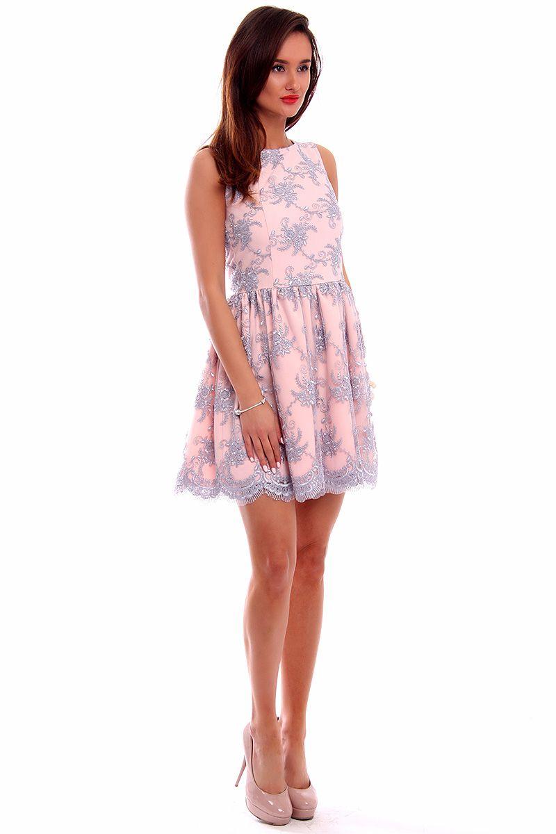 90a3780a88999a Sukienka koronka mini CM503 szaro-różowa modne sukienki CosmosModa