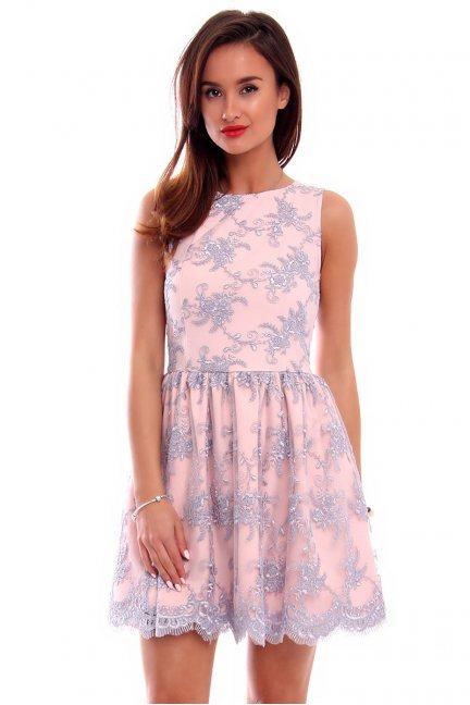 Sukienka koronka mini CM503 szaro-różowa