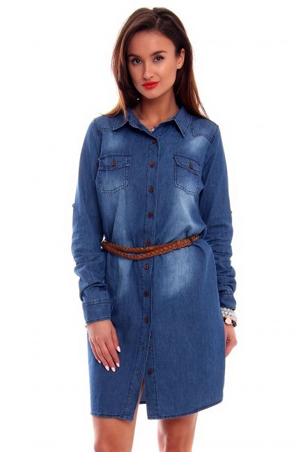 Sukienka jeans z guzikami CMK3412 niebieska