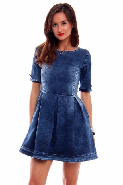 Sukienka rozkloszowana jeans CMK2995 niebieska