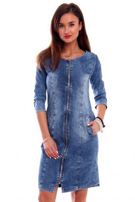 Sukienka jeansowa suwak CMK066 niebieska