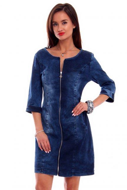 Sukienka jeans z suwakiem CMK2307 niebieska