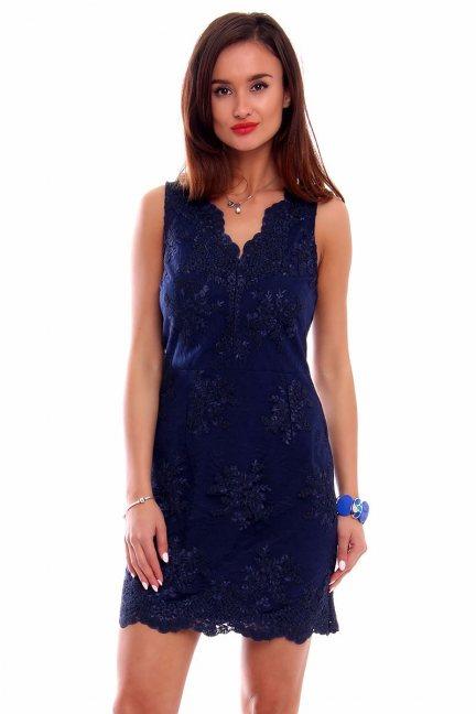 Sukienka mini z koronki CMK244 granatowa