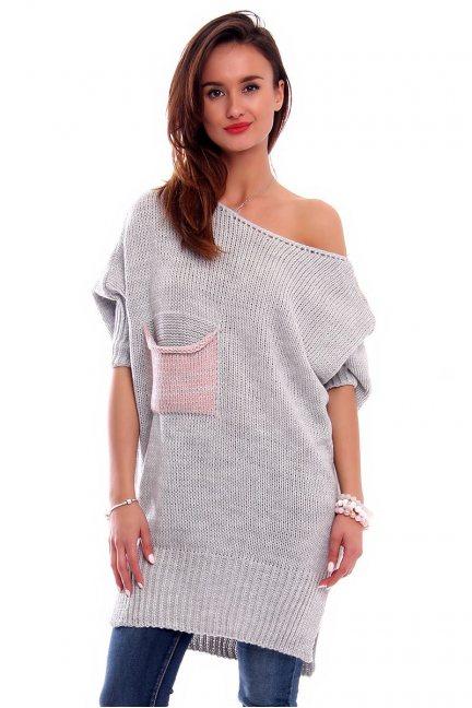Sweter z kieszenią i kokardką CMK247 szary