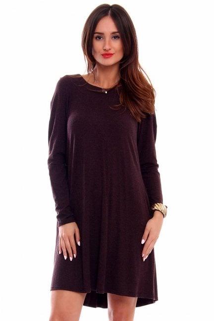 Sukienka trapezowa angora CM217 brązowa
