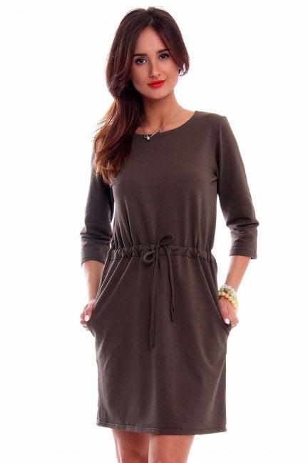 Sukienka bawełniana wiązana khaki