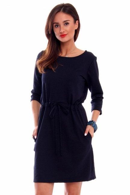 Sukienka bawełniana wiązana CM412 czarna