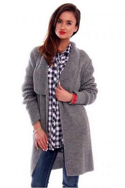 Sweter ciepły kardigan CMK2030 szary