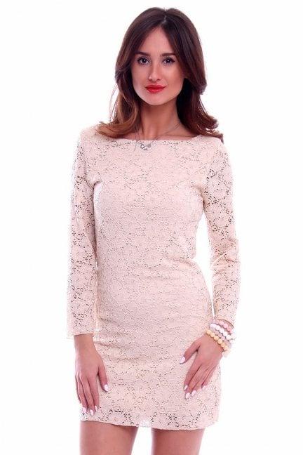 Sukienka koronkowa mini CM507 beżowa