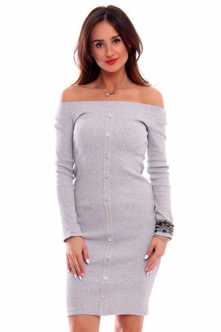 Sukienka ołówkowa guziki CMK258 szara