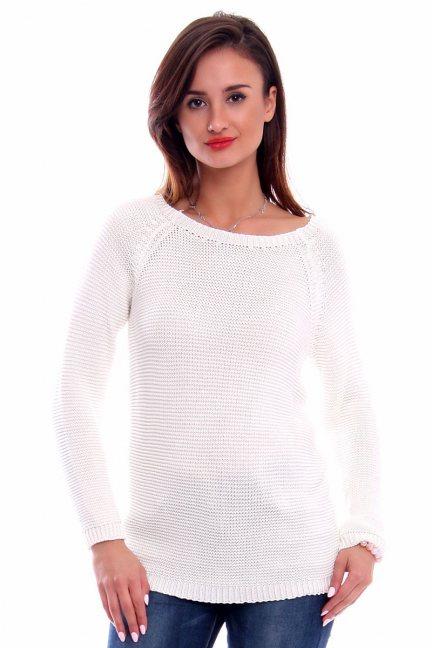 Sweter z ozdobną tasiemką CMK2031 ecru