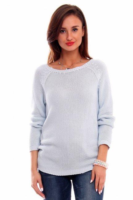 Sweter z ozdobną tasiemką CMK2031 błękitny
