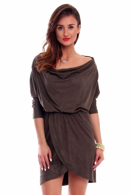 Sukienka zamszowa fala CMK264 khaki