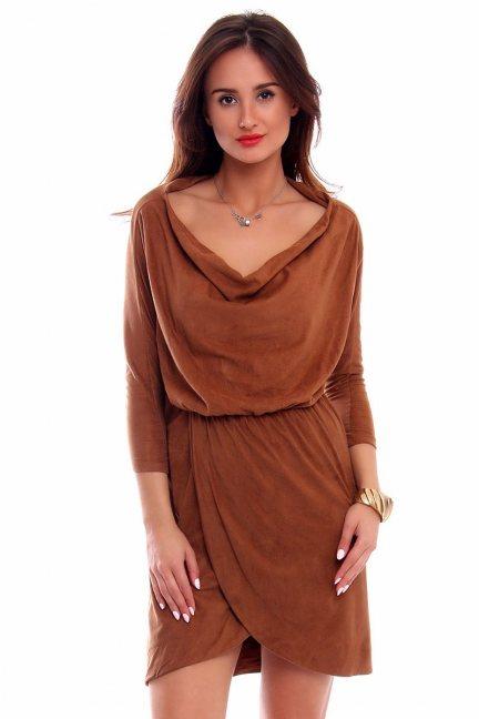 Sukienka zamszowa fala CMK264 camel
